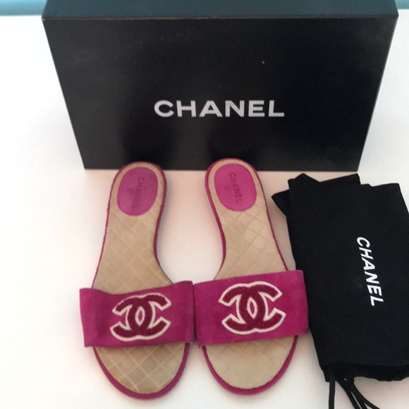 f4326aa0c49ab7 CHANEL Shoes - Chanel Pink Suede Slides size 37